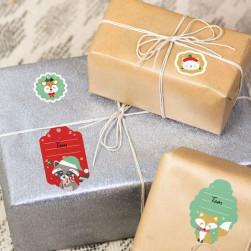 Etiquettes pour marquer les cadeaux de Noël - Animaux Rouge Vert