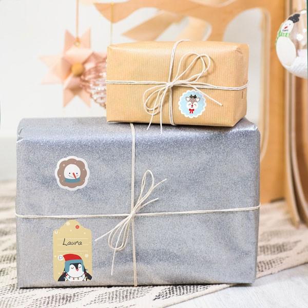 Etiquettes pour marquer les cadeaux de Noël - Animaux Or Bleu