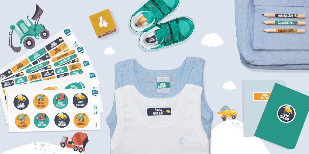 Des étiquettes pour marquer le materiel de puériculture et les vêtements des enfants