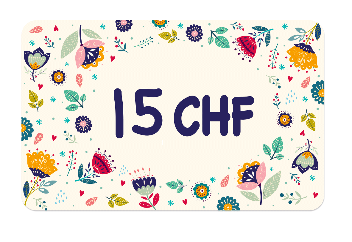 La carte cadeau à 15 CHF de Ludilabel pour offrir des produits personnalisées avec le nom de l'enfant au parent