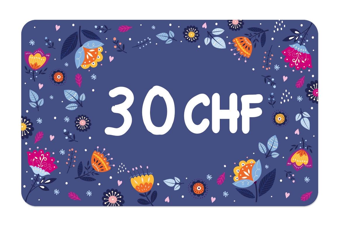 La carte cadeau à 30 CHF de Ludilabel pour offrir des produits personnalisées avec le nom de l'enfant au parent