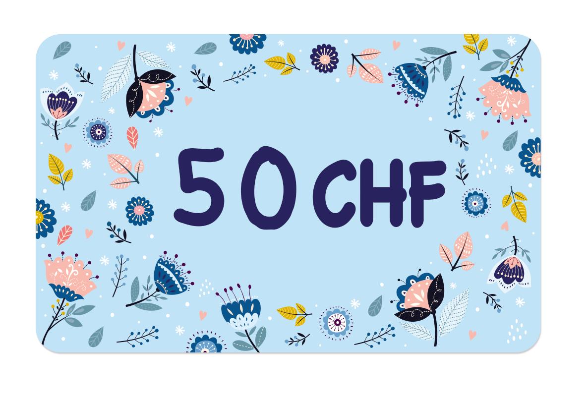 La carte cadeau à 50 CHF de Ludilabel pour offrir des produits personnalisées avec le nom de l'enfant au parent